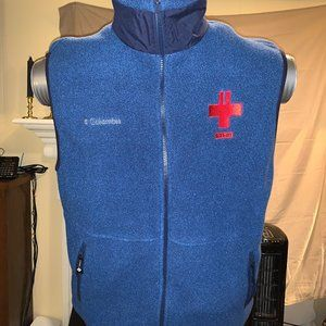 Columbia fleece vest with 9-11 embroidery on chest